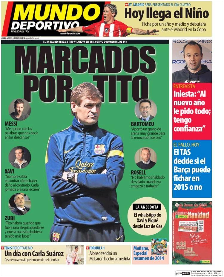 Portada Mundo Deportivo: Marcados por Tito