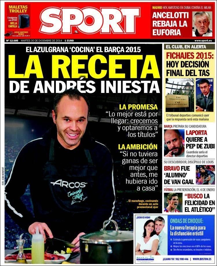 Portada Sport: La receta de Andrés Iniesta