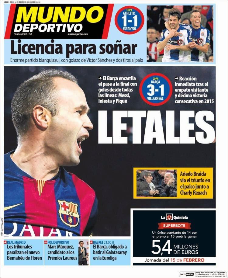 Portada Mundo Deportivo: Letales