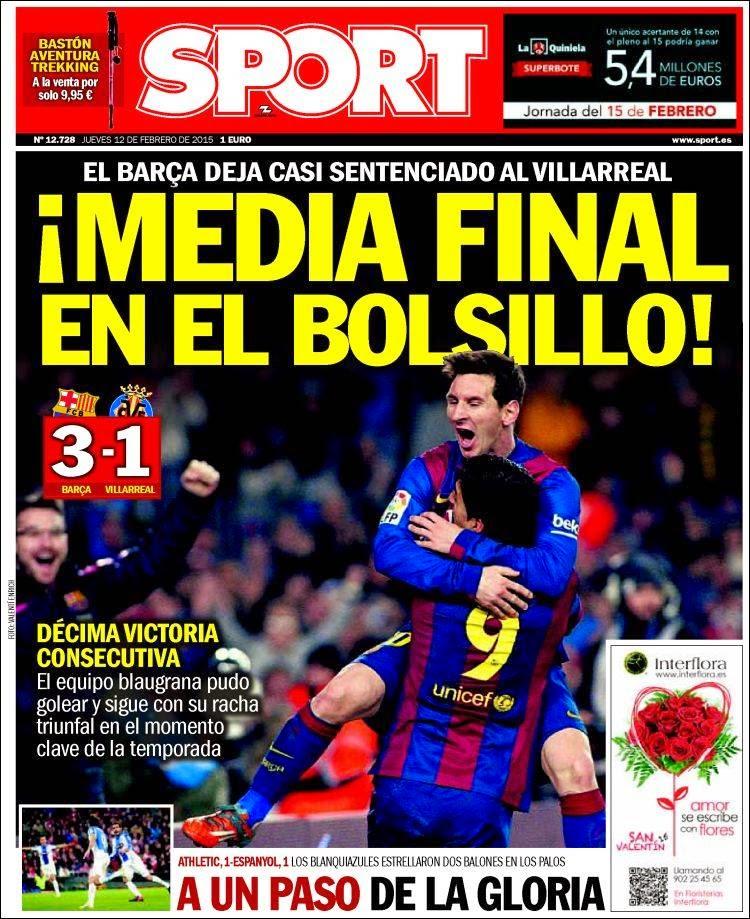 Portada Sport: Media final en el Bolsillo barcelona villarreal