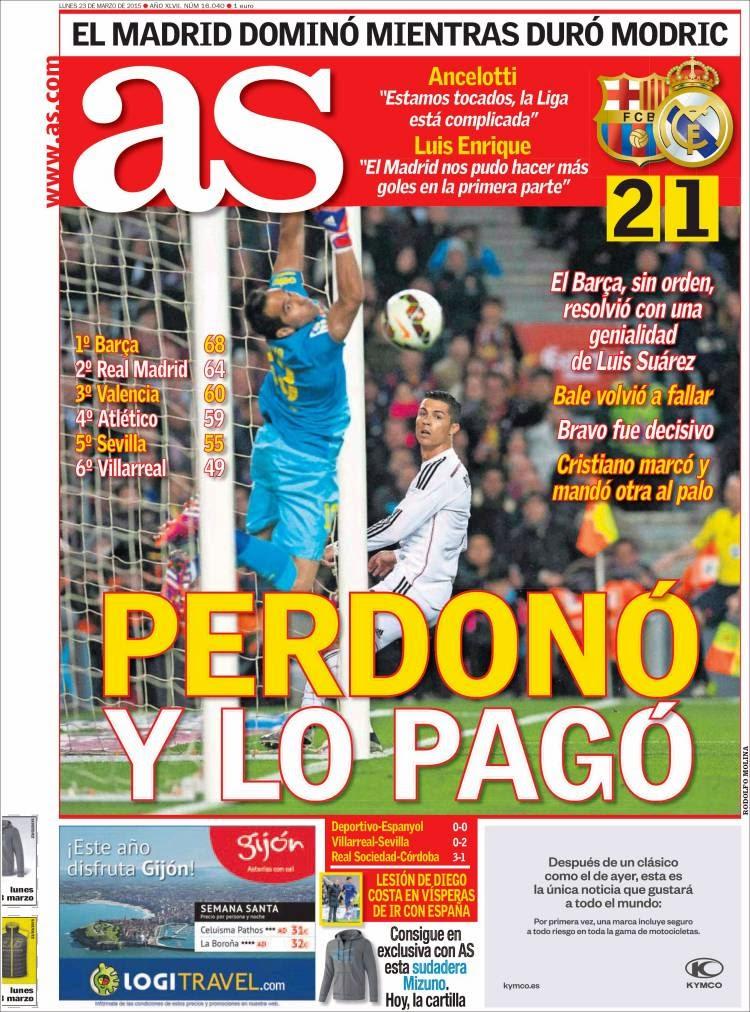 Portada AS: El Madrid perdonó y lo pagó pierde clásico contra el barcelona 2015