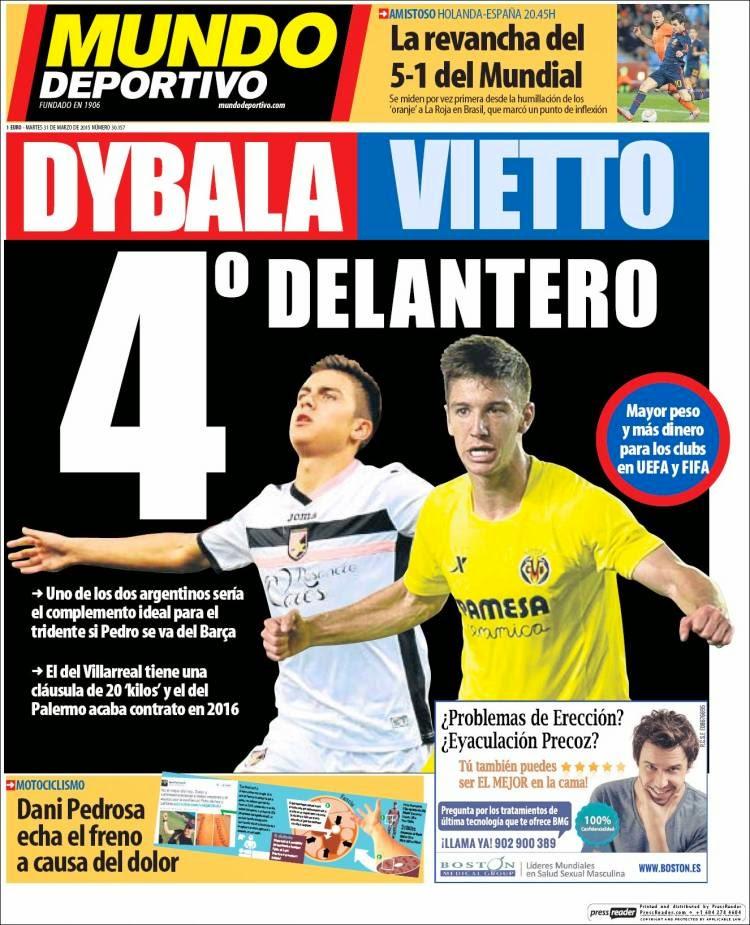 Portada Mundo Deportivo: Dybala-Vietto