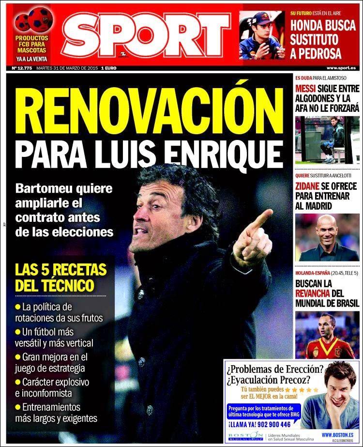 Portada Sport: renovación para Luis Enrique