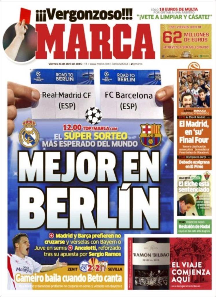 Hoy sorteo de semifinales de champions league las for Madrid sevilla marca
