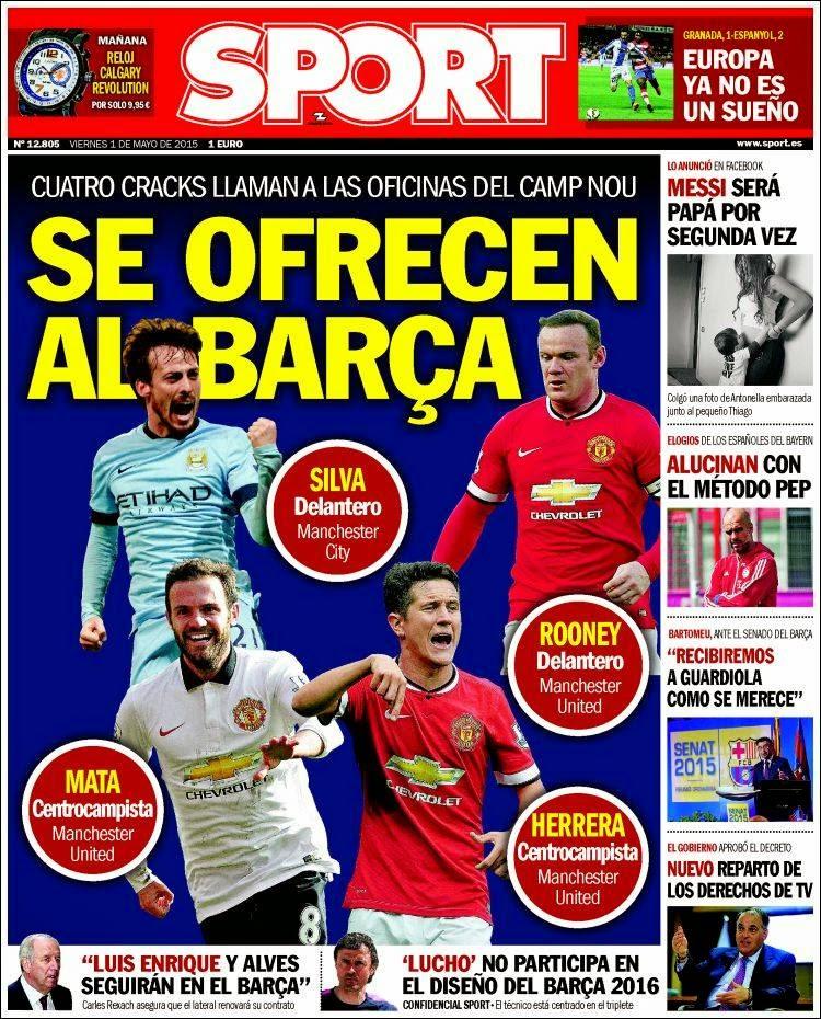 Portada Sport: Fichajes del barça