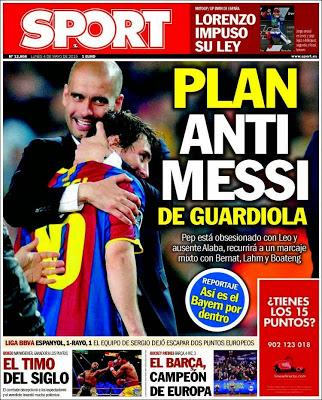 Portada Sport: plan anti Messi
