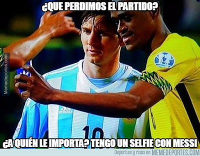 Los memes del  Argentina-Jamaica. Copa América selfie messi