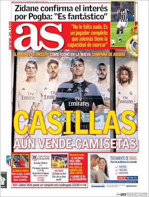 Portada AS: Casillas con la nueva equipación real amdrid