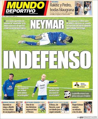 Portada Mundo Deportivo: Neymar indefenso