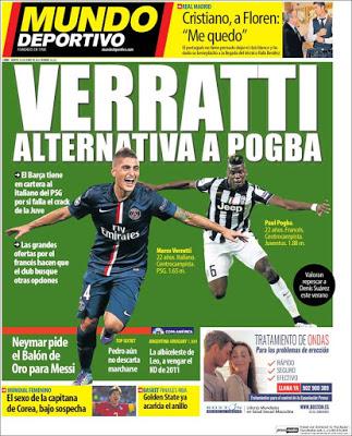 Portada Mundo Deportivo: Verratti alternativa a Pogba