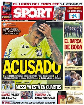 Portada Sport: Neymar acusado