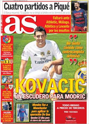 Portada AS: Kovacic es presentado en el Real Madrid