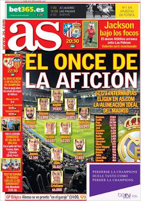 Portada AS: el once del Madrid ideal para la afición
