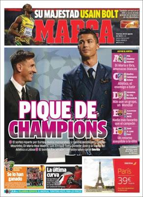Portada Marca: pique de Champions messi ronaldo