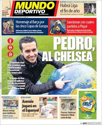 Portada Mundo Deportivo: Pedro al Chelsea