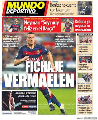 Portada Mundo Deportivo: fichaje Vermaelen