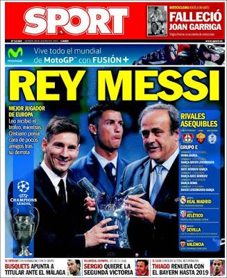 Portada Sport: Rey Messi uefa best player 2015