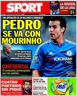 Portada Sport: Pedro al Chelsea
