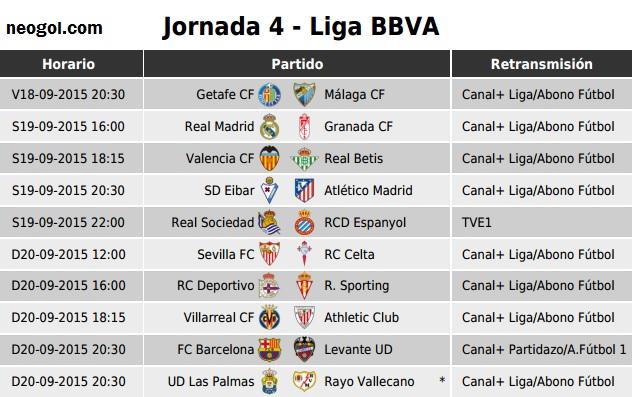 Calendario De La Liga Espanola De Futbol.Partidos Jornada 4 Liga Espanola Bbva 2015 Liga Espanola 2019