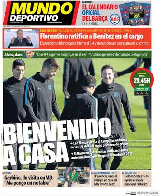 Portada Mundo Deportivo: Bienvenido a casa Leo