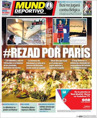Portada Mundo Deportivo: rezad por parís