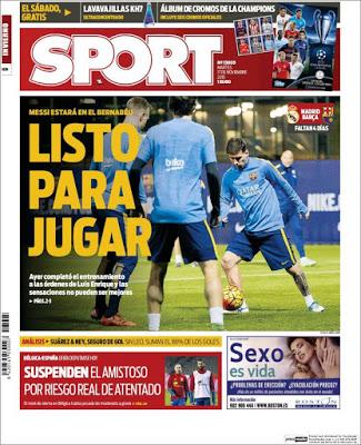 Portada Sport: Leo Messi listo para jugar
