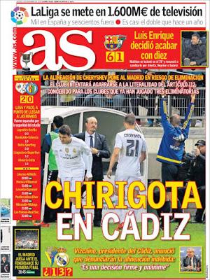 Portada AS: Chirigota en Cádiz real madrid alineacion idebida