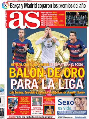 Portada As: Balón de Oro para la Liga