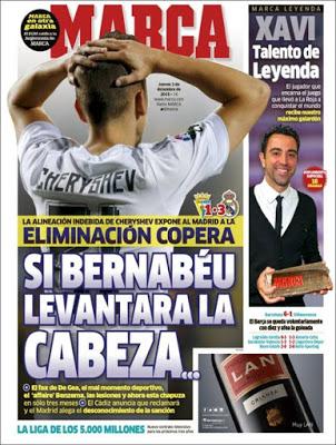 Portada Marca: Si Bernabéu levantara cabeza madrid cadiz