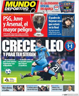 Portada Mundo Deportivo: Crece Leo