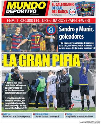Portada Mundo Deportivo: la gran pifia del madrid alineacion indebida cheryshev