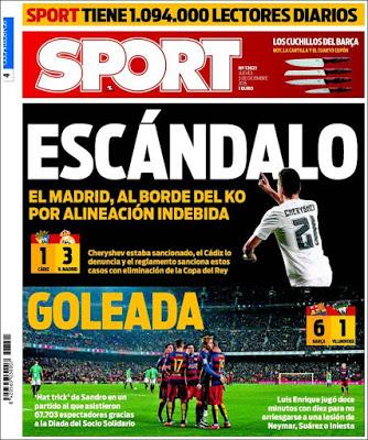 Portada Sport: Escándalo y Goleada madrid eliminado copa