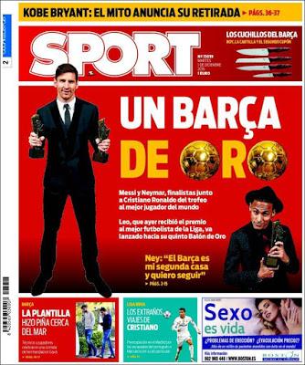 Portada Sport: Un Barça de Oro messi mvp 2015
