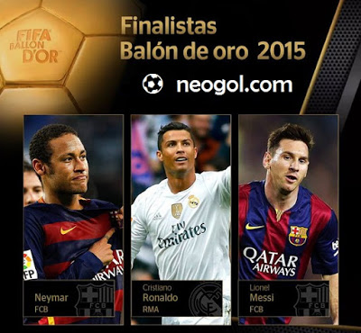 Finalistas Balón de Oro 2015: Messi, Ronaldo y Neymar