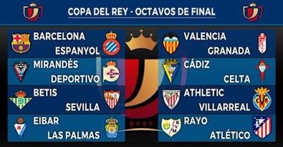 Octavos Copa del Rey 2015-2016. Calendario