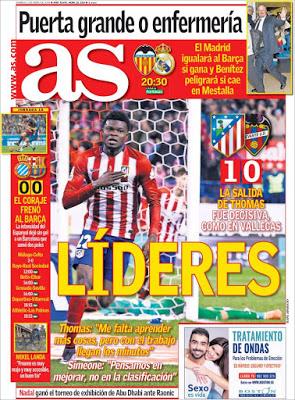 Portada AS: Líderes atletico madrid