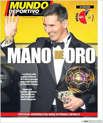 Portada Mundo Deportivo: mano de Oro
