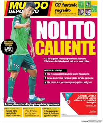 Portada Mundo Deportivo: Nolito caliente