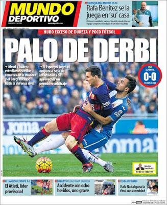 Portada Mundo Deportivo: Palo de Derbi