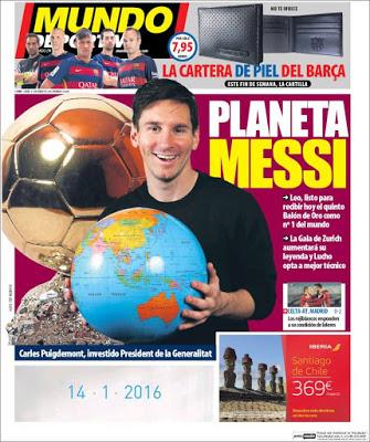 Portada Mundo Deportivo: planeta Messi