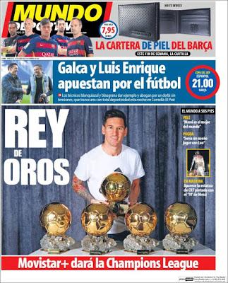 Portada Mundo Deportivo: Messi Rey de Oros