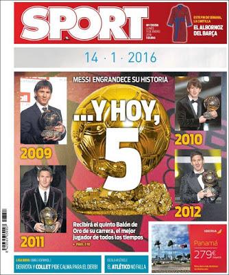 Portada Sport: Messi hoy 5 balones de oro