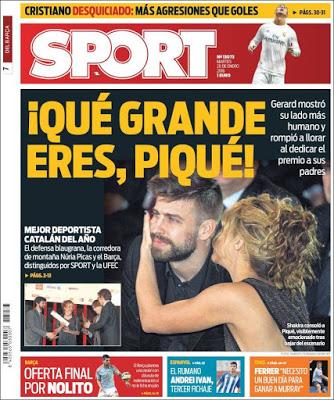 Portada Sport: Qué grande eres Piqué