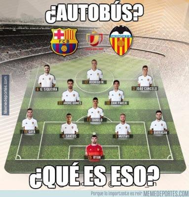Los mejores memes del Barcelona-Valencia: Copa del Rey autobus valencia