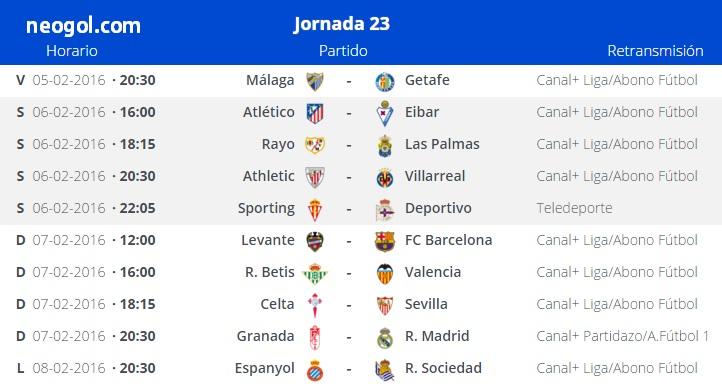 Partidos Jornada 23. Liga Española BBVA 2016