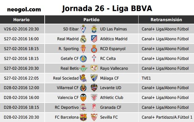 Partidos  y horarios Jornada 26. Liga Española BBVA 2016