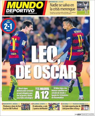 Portada Mundo Deportivo: Leo de Oscar