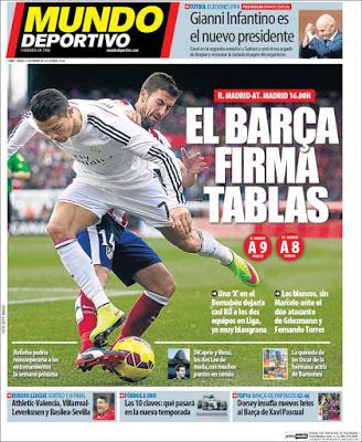Portada Mundo Deportivo: el Barça firma tablas derbi madrileño