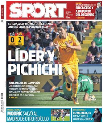 Portada Sport: líder y pichichi