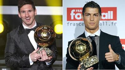 Messi y Ronaldo con el Balón de Oro